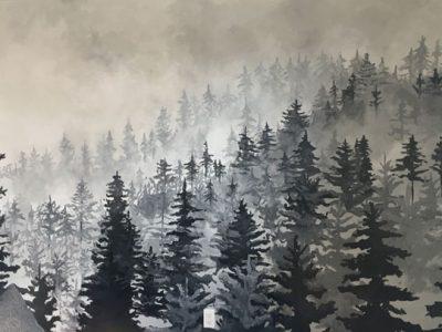 Peinture-murale-foret-noir-et-blanc