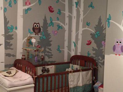 peinture-murale-chambre-fillette-hiboux