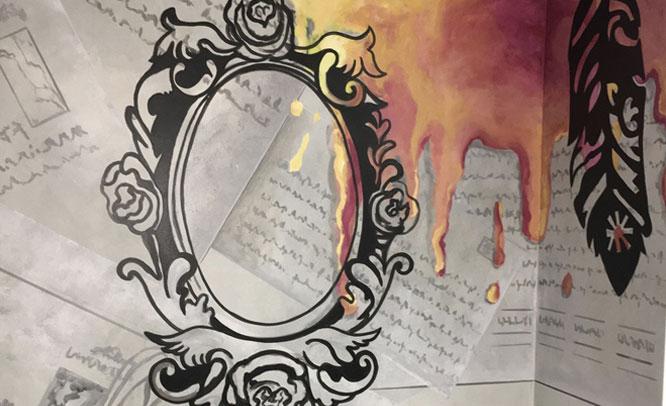 peinture-murale-miroir-vintage-plumes